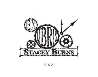 Steam Punk Clock Gears Collage  Ex Libris Personalized Rubber Stamp I05