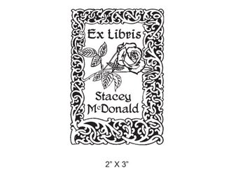Art Nouveau Knotted Vines with Rose Blossom Custom Bookplate Rubber Stamp I30