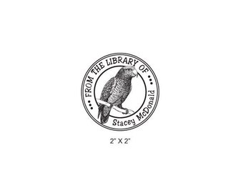 Custom Parrot Library Ex Libris Rubber Stamp I25
