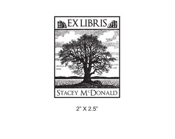 Old Oak Tree Personalized Ex Libris Bookplate Rubber Stamp I33