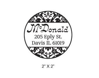 Round Damask Calligraphy Custom Return Address Rubber Stamp AD161