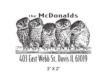 Five Owls Custom Return Address Rubber Stamp AD174
