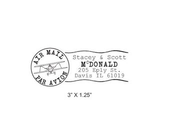 Airplane Post Mark Air Mail -  Par Avion Mail Art  Custom Return Address Rubber Stamp AD168