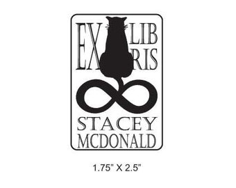 Silhouette Infinity Cat Personalized Ex Libris Bookplate Rubber Stamp J15