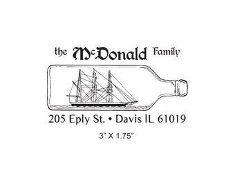 Custom Nautical Ship in a Bottle Return Address Rubber Stamp AD215