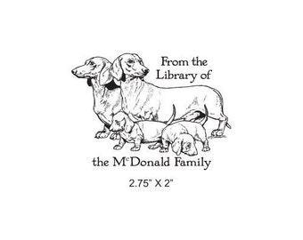 Dachshund Parents with Puppies Weiner Dog Custom Bookplate Rubber Stamp K23