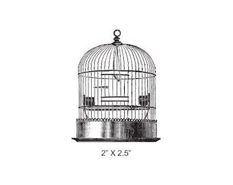 Vintage Bird Cage Rubber Stamp 468