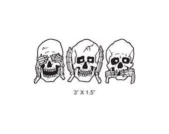 Skulls See No Evil - Hear No Evil - Speak No Evil Bones Rubber Stamp 423