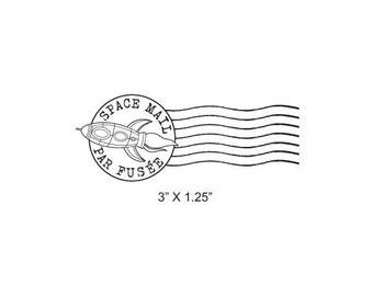Rocket Ship Post Mark Space Mail -  Par Fusée Mail Art Rubber Stamp 411