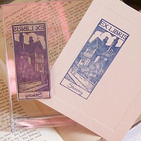 Custom Ex Libris Estate Home Bookplate Stamp A21