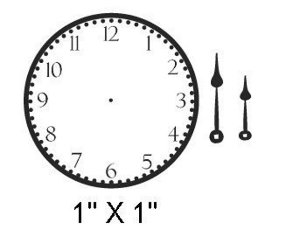 Mini Clock Face And Hands Rubber Stamp 030 By
