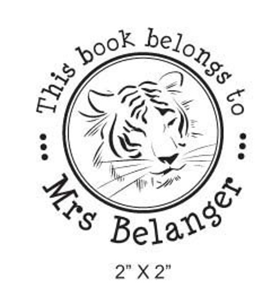 Tiger Face Personalized Ex Libris Rubber Stamp H02
