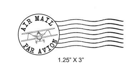 Airplane Post Mark Air Mail -  Par Avion Mail Art Rubber Stamp 295