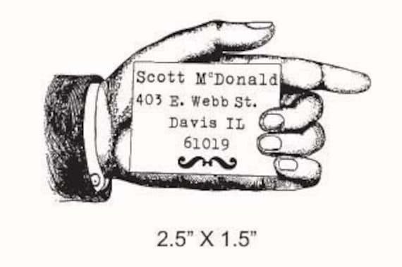 Vintage Advertising Hand Pointing  Custom Return Address Rubber Stamp AD104