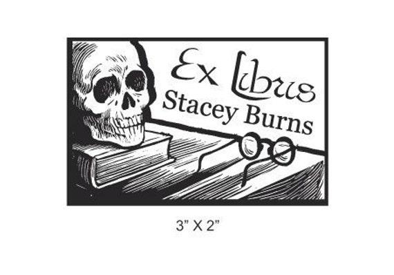 Skull and Book Calaveras  Personalized Ex Libris Bookplate Rubber Stamp H30