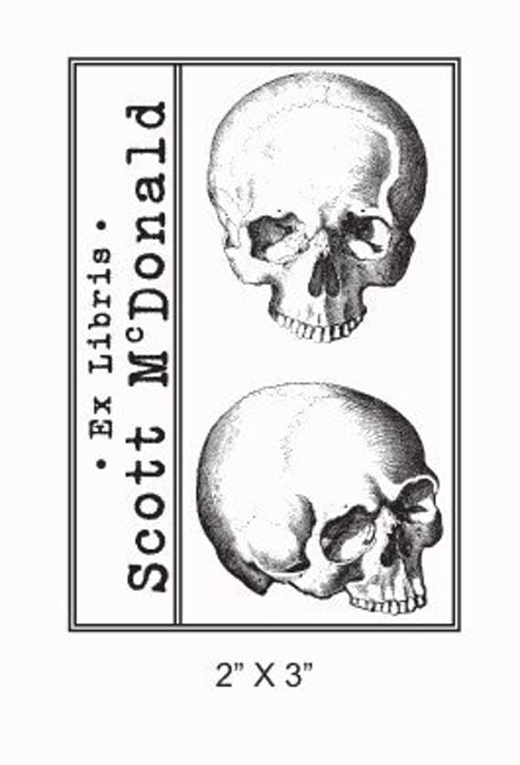 Personalized Anatomical Skulls Human Anatomy Ex Libris Bookplate Rubber Stamp F21