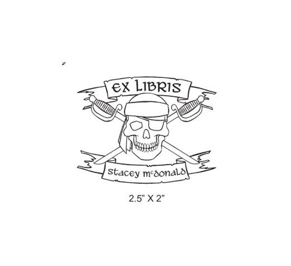 Custom Pirate Skull with Crossed Swords Ex Libris Bookplate Rubberstamp I23