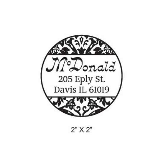 Round Damask Calligraphy Custom Return Address Rubber Stamp AD161