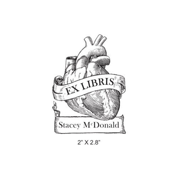 Anatomical Heart Antique Banner Ex Libris Bookplate Rubber Stamp K11
