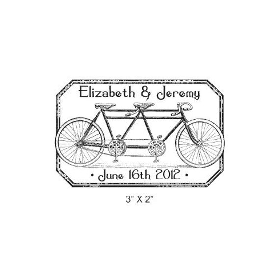 Tandem Bicycle Distressed Antique Frame Custom Wedding Save the Date Rubber Stamp AD224