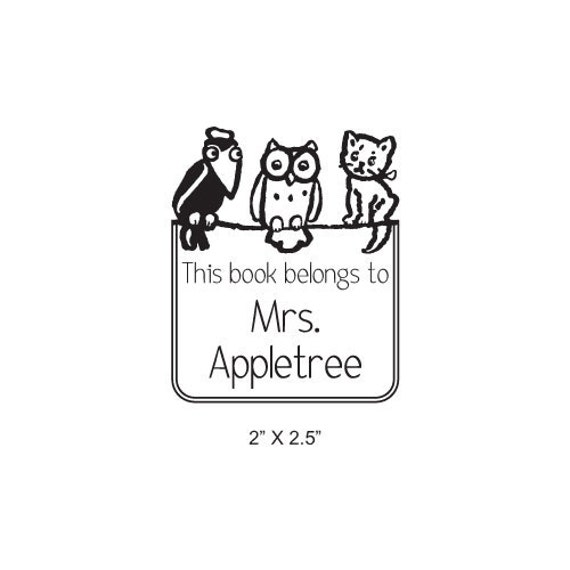 Crow Owl and Kitten Personalized Ex Libris Bookplate Rubber Stamp K27