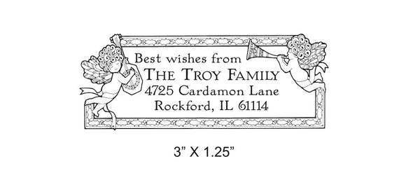 Custom Return Address Holiday Angels Rubber Stamp AD27