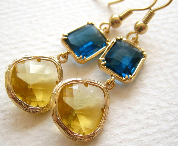 Old Gold and Blue - Go WVU Earrings - West Virginia