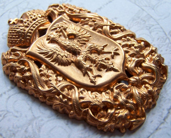 Vintage Haskell Heraldic Crown & Eagle Shield Red Brass Finding