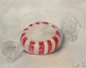 Candy Striper, Original Oil Painting, 2x3 inches