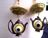 Lapsang Souchong Earrings with Evil Eye Beads