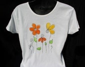 Hand Painted Whimsical Daisies on Ladies Tee Shirt