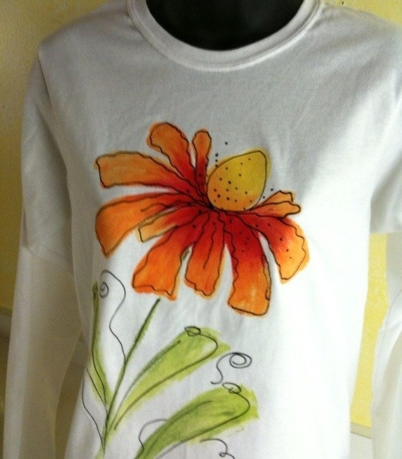 Long Sleeve Cone Flower Tee In Orange And Red