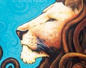 Iron Lion (Blue) 11x9 Print