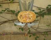 Cuff Bracelet, Ceramic Handmade Victorian Style Bracelet, Oval Shape, Gold Embellishments, Glass Beads OOAK