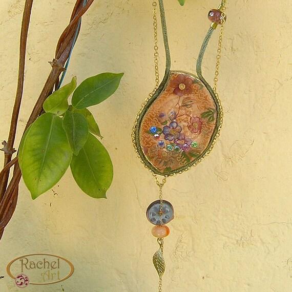 Ceramic Necklace Pendant, Vintage Style Jewelry, Handmade Drop Shape OOAK Pendant,  Pink, Peach, Orange