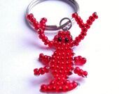 Red Beaded Lobster Keyring - Wayne