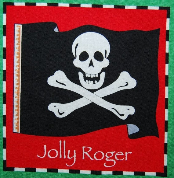 Pirate Jolly Roger kids quilting panel squaresJolly Roger Kids
