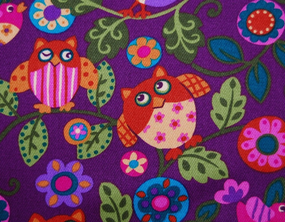 HAPPY OWL fabric pink purple Kawaii style by ...
