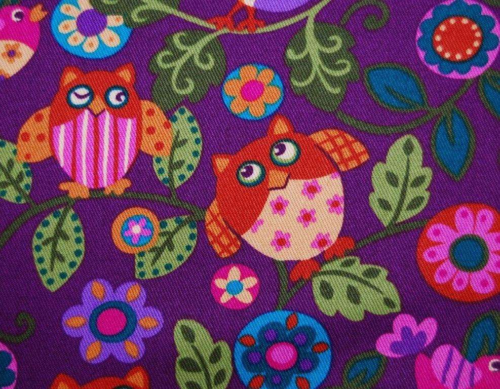 HAPPY OWL fabric pink purple Kawaii style by ...