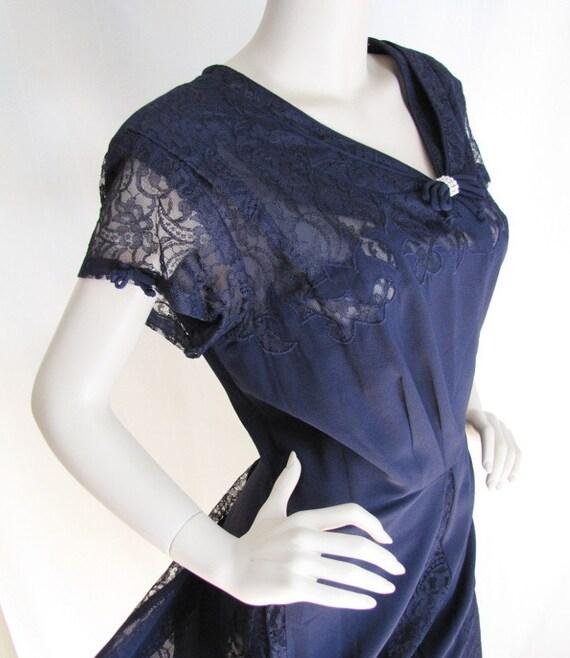 Party Perfect - Vintage 1950s Lace Illusion Cocktail Dress XXL XL