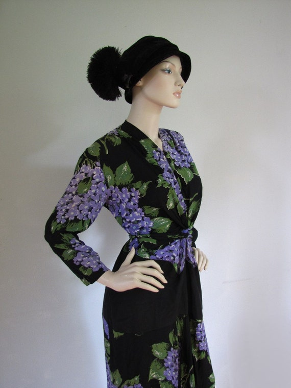 Lilac Garden - Vintage Avant Garde 1940s Floral Cocktail Dress Large XL
