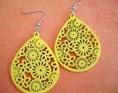 Sunshine -Yellow Wooden Earrings