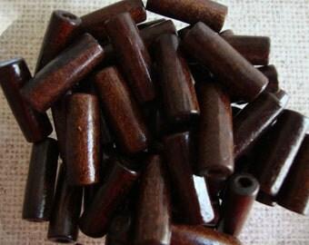 Dark Wood Barrel Beads 20x7mm (Qty 25)