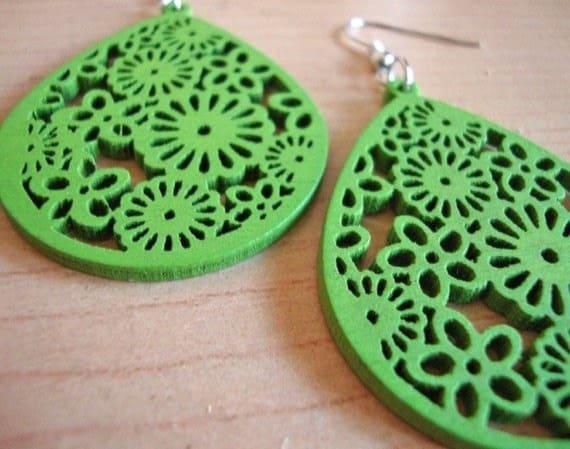 Avocado - Green Wooden Earrings