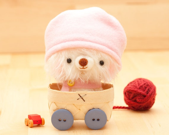 Amigurumi bear in pink plush toy - made to order - Happy Pinu with hat -