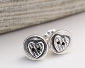 Button Heart Silver Stud Earrings