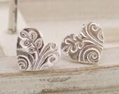 Textured Silver Heart Stud Earrings, Handmade UK