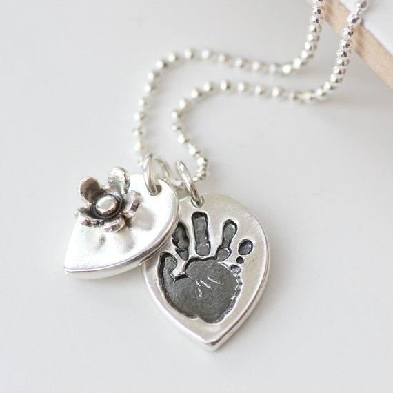 Handprint Footprint Personalised Silver Petal Necklace