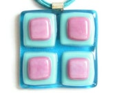 Pink and turquoise squares fused glass pendant RESERVED for ESZTER
