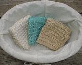 Gorgeous Set of 3 Hand Knit Wash Cloths/Dish Cloths/Spa Cloths